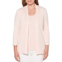Rafaella Womens Solid Embellished Open Front Cardigan