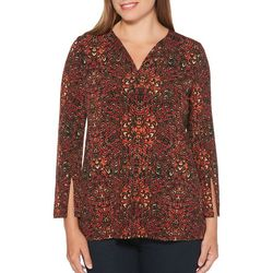 Rafaella Womens Embellished Abstract Floral Top