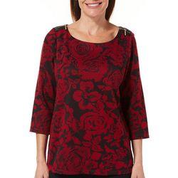 Rafaella Womens Textured Rose Zip Shoulder Top