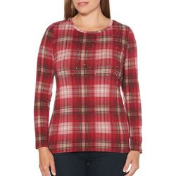 Rafaella Womens Embellished Plaid Long Sleeve Top