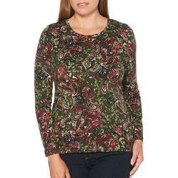 Rafaella Womens Embellished Floral Paisley Long Sleeve Top