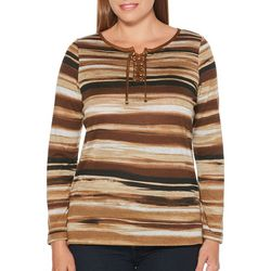 Rafaella Womens Striped Lace-Up Long Sleeve Top