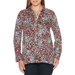 Rafaella Womens Floral Print Button Down Top