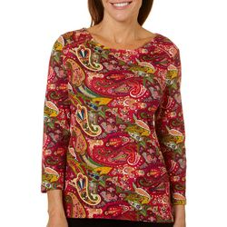 Rafaella Womens Paisley Print Zip Shoulder Top