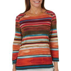 Rafaella Womens Colorful Striped Zip Shoulder Top