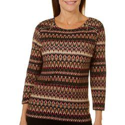 Rafaella Womens Chevron Striped Zip Shoulder Top