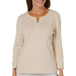 Rafaella Womens Embellished Heathered Grommet Top