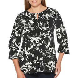 Rafaella Womens Abstract Floral Keyhole Top