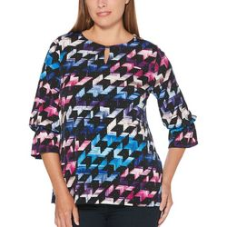 Rafaella Womens Abstract Arrow Keyhole Top