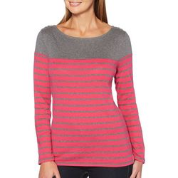 Rafaella Womens Striped Button Shoulder Long Sleeve Top