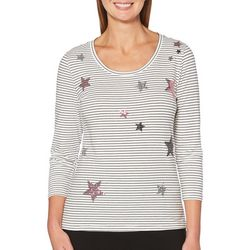 Rafaella Womens Embellished Stars & Stripes Top