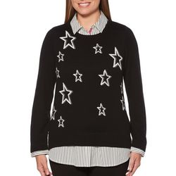 Rafaella Womens Striped Star Duet Top