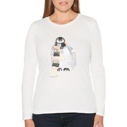 Rafaella Womens Embellished Penguin Long Sleeve Top