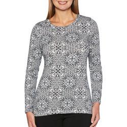 Rafaella Womens Textured Snowflake Top