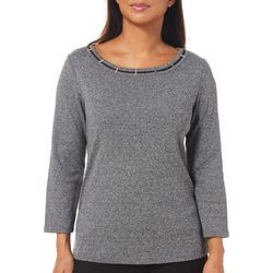 Rafaella Womens Embellished Heathered Slatted Neck Top