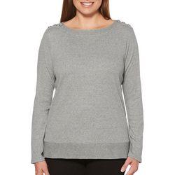 Rafaella Womens Button Shoulder Boat Neck Sweater