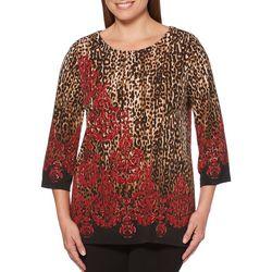 Rafaella Womens Animal Damask Print Zip Shoulder Top