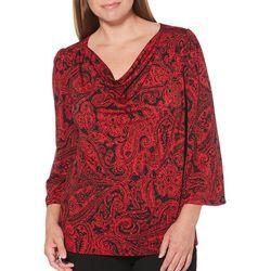 Rafaella Womens Embellished Paisley Floral Top