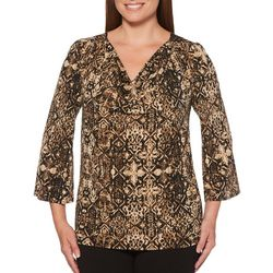 Rafaella Womens Embellished Snake Print Medallion Top