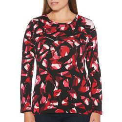 Rafaella Womens Embellished Camo Leaf Top