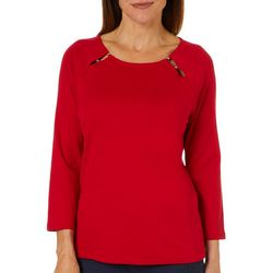 Rafaella Womens Solid Bead Neck Top