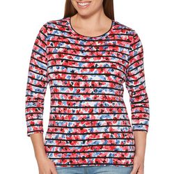 Rafaella Womens Floral Stripes Embellished Top