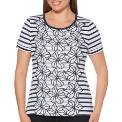 Rafaella Womens Floral Embroidered Stripe Top