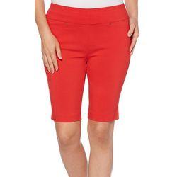Rafaella Womens Solid Pull On Bermuda Shorts