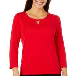 Rafaella Womens Solid Embellished Keyhole Top