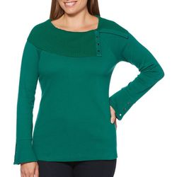Rafaella Womens Ribbed Layered Neck Button Top