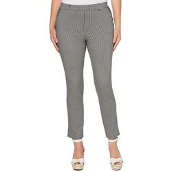 Rafaella Womens Gingham Skinny Fit Pull On Ankle Pants