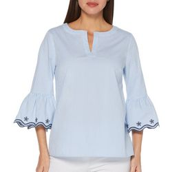 Rafaella Womens Striped Embroidered Bell Sleeve Top