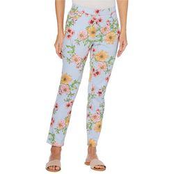 Rafaella Womens Floral Stripe Pull On Pants