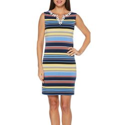 Rafaella Womens Stripe Print Daisy Detail Dress
