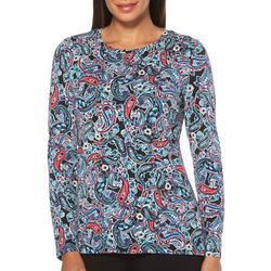 Rafaella Womens Paisley Print Long Sleeve Top