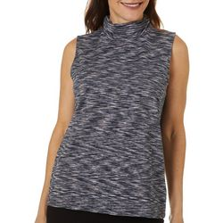 Rafaella Womens Space Dye Glitzy Mock Neck Tank Top