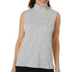 Rafaella Womens Solid Ribbed Mock Neck Tank Top