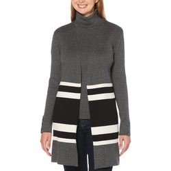Rafaella Womens Colorblock Open Front Duster Cardigan