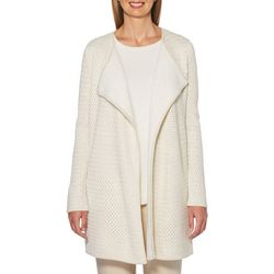 Rafaella Womens Solid Open Front Duster Cardigan