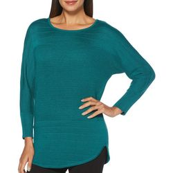 Rafaella Womens Solid Mixed Knit Long Sleeve Sweater