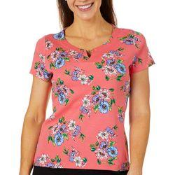 Rafaella Womens Floral Keyhole Chain Short Sleeve Top
