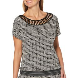 Rafaella Womens Medallion Crochet Detail Short Sleeve Top
