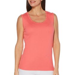 Rafaella Womens Studded Neckline Shell Tank Top
