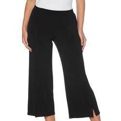Rafaella Womens Solid Wide Leg Pull On Cropped Pants