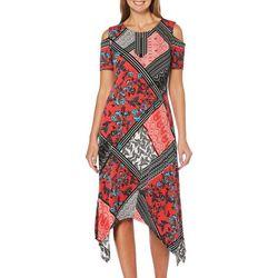 Rafaella Womens Mixed Floral Print Cold Shoulder Dress