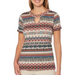 Rafaella Womens Ikat Print Keyhole Short Sleeve Top