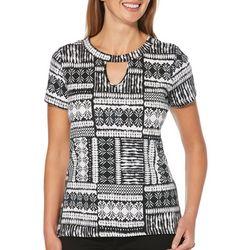 Rafaella Womens Mixed Geo Print Keyhole Short Sleeve Top