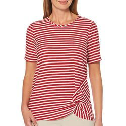 Rafaella Womens Striped Side Knot Detail Short Sleeve Top