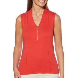 Rafaella Womens Solid Zipper Placket Sleeveless Top
