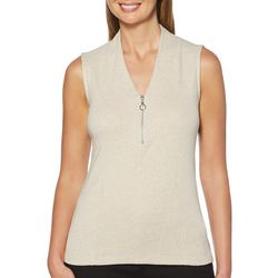 Rafaella Womens Solid Zipper Placket Sleeveless Top